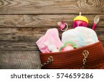 Small photo of Mother's handbag with items to care for child