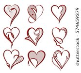 valentines days card with many... | Shutterstock . vector #574659379