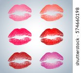 set of six kiss stamps | Shutterstock .eps vector #574660198