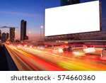 Small photo of blank billboard on light trails, street and urban in the night - can advertisement for display or montage product or business