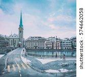 winter landscape of zurich with ... | Shutterstock . vector #574662058