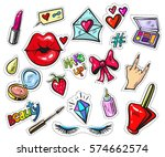 fashion patch badges with lips... | Shutterstock .eps vector #574662574