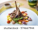 lamb steak on the dish | Shutterstock . vector #574667944
