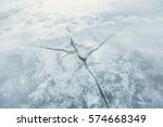 large crack the ice on the river | Shutterstock . vector #574668349