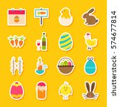 spring easter stickers. vector... | Shutterstock .eps vector #574677814