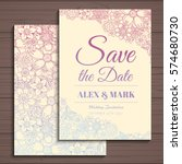 wedding invitation card suite... | Shutterstock .eps vector #574680730