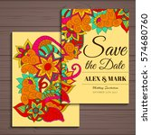 wedding invitation card suite... | Shutterstock .eps vector #574680760