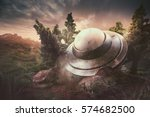 ufo crash in the forest | Shutterstock . vector #574682500