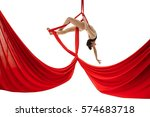 young girl exercises on red... | Shutterstock . vector #574683718