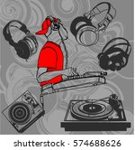 illustration of a dj at the... | Shutterstock .eps vector #574688626