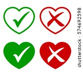 tick icon in the heart set.... | Shutterstock .eps vector #574692598