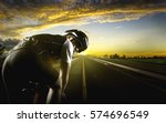 cyclist. sport man cycling on... | Shutterstock . vector #574696549