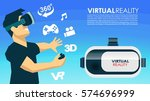 vr glasses 3d virtual reality... | Shutterstock .eps vector #574696999