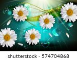abstract chamomile flowers... | Shutterstock .eps vector #574704868