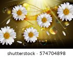 abstract chamomile flowers... | Shutterstock .eps vector #574704898