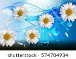 abstract chamomile flowers... | Shutterstock .eps vector #574704934