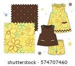 girls' fashion illustration... | Shutterstock .eps vector #574707460