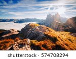 aerial view of the alpine... | Shutterstock . vector #574708294