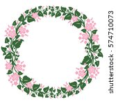 round frame  floral wreath ... | Shutterstock .eps vector #574710073