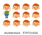 little boy feelings set vector | Shutterstock .eps vector #574711426