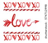 xo  love  amor arrow  lollipop... | Shutterstock . vector #574712998