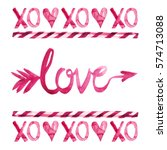 xo  love  amor arrow  lollipop... | Shutterstock . vector #574713088