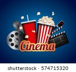 cinema related icons over blue... | Shutterstock .eps vector #574715320