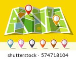 map icon with set of markers | Shutterstock .eps vector #574718104