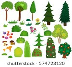 vector  cartoon trees  shrubs... | Shutterstock .eps vector #574723120