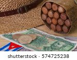 cigars  straw hat and cuban... | Shutterstock . vector #574725238