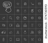 line shopping icons set. ...