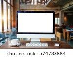 computer monitor  keyboard...   Shutterstock . vector #574733884