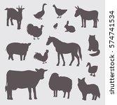farm animals silhouette set | Shutterstock .eps vector #574741534