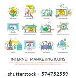 set of flat line design icons... | Shutterstock .eps vector #574752559