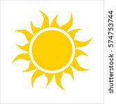 yellow sun icon isolated on... | Shutterstock .eps vector #574753744
