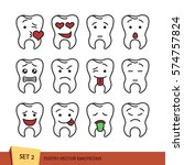 set of tooth outline emoticons. ... | Shutterstock .eps vector #574757824