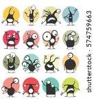 set of sixteen color stickers... | Shutterstock .eps vector #574759663