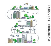eco city in linear style  ... | Shutterstock .eps vector #574770514