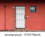 Red Wall With Door And Window...