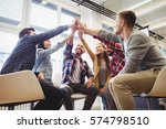 low angle view of happy... | Shutterstock . vector #574798510