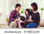 young happy family with toddler ... | Shutterstock . vector #574801234