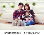 young happy family with toddler ... | Shutterstock . vector #574801240