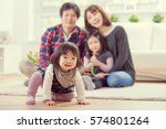 young happy family with toddler ... | Shutterstock . vector #574801264