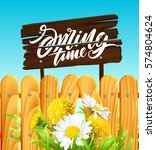 inscription spring time on... | Shutterstock .eps vector #574804624