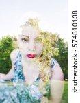 double exposure portrait of... | Shutterstock . vector #574810138