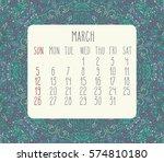 march 2017 calendar over blue...   Shutterstock . vector #574810180