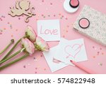 pink valentines day flat lay... | Shutterstock . vector #574822948