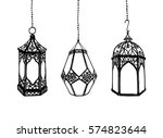 3 hand drawn arabic lanterns on ... | Shutterstock .eps vector #574823644