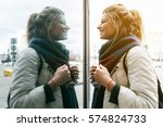 funny face girl looking to... | Shutterstock . vector #574824733