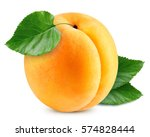 Apricot Fruits With Green Leaf...